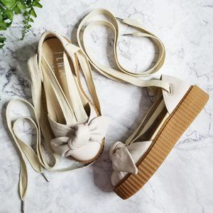 Fenty Puma Oatmeal Leather Lace-Up Bow Creepers